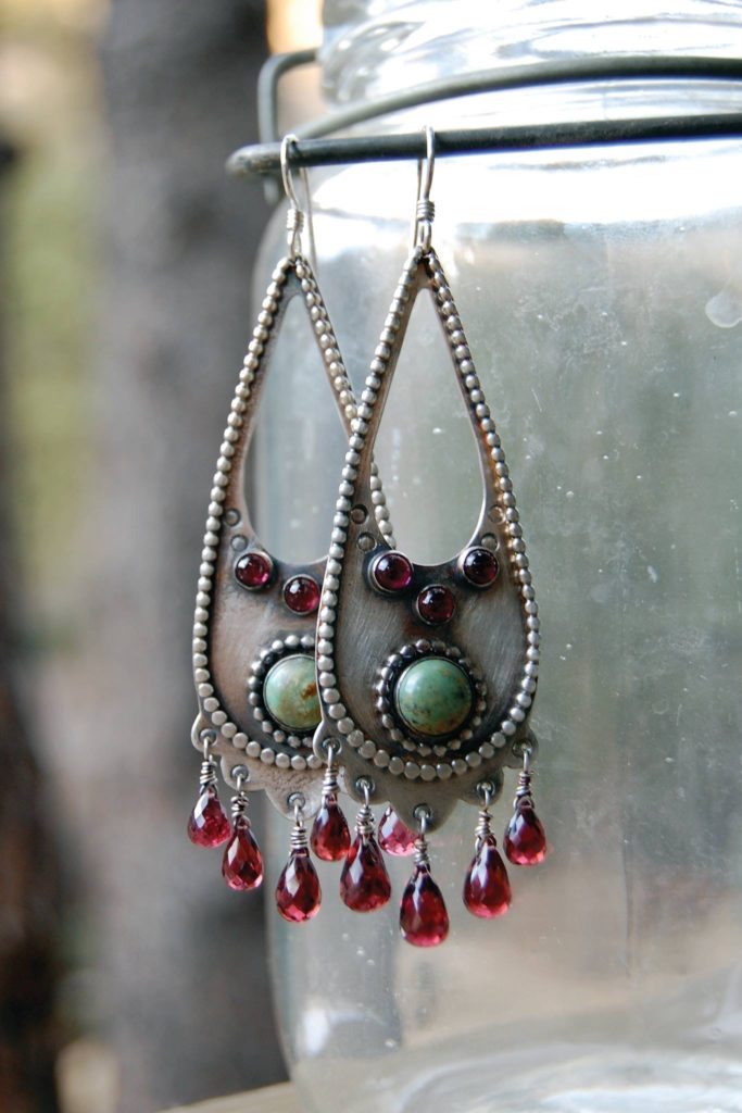 Silver and turquoise earrings with garnets